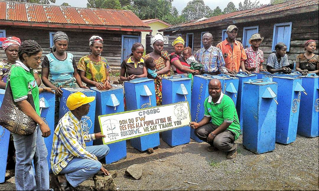 Women trained to make bio-sand filters