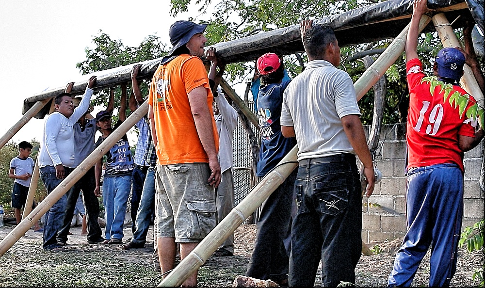Working after the Earthquake to repair roofs etc.