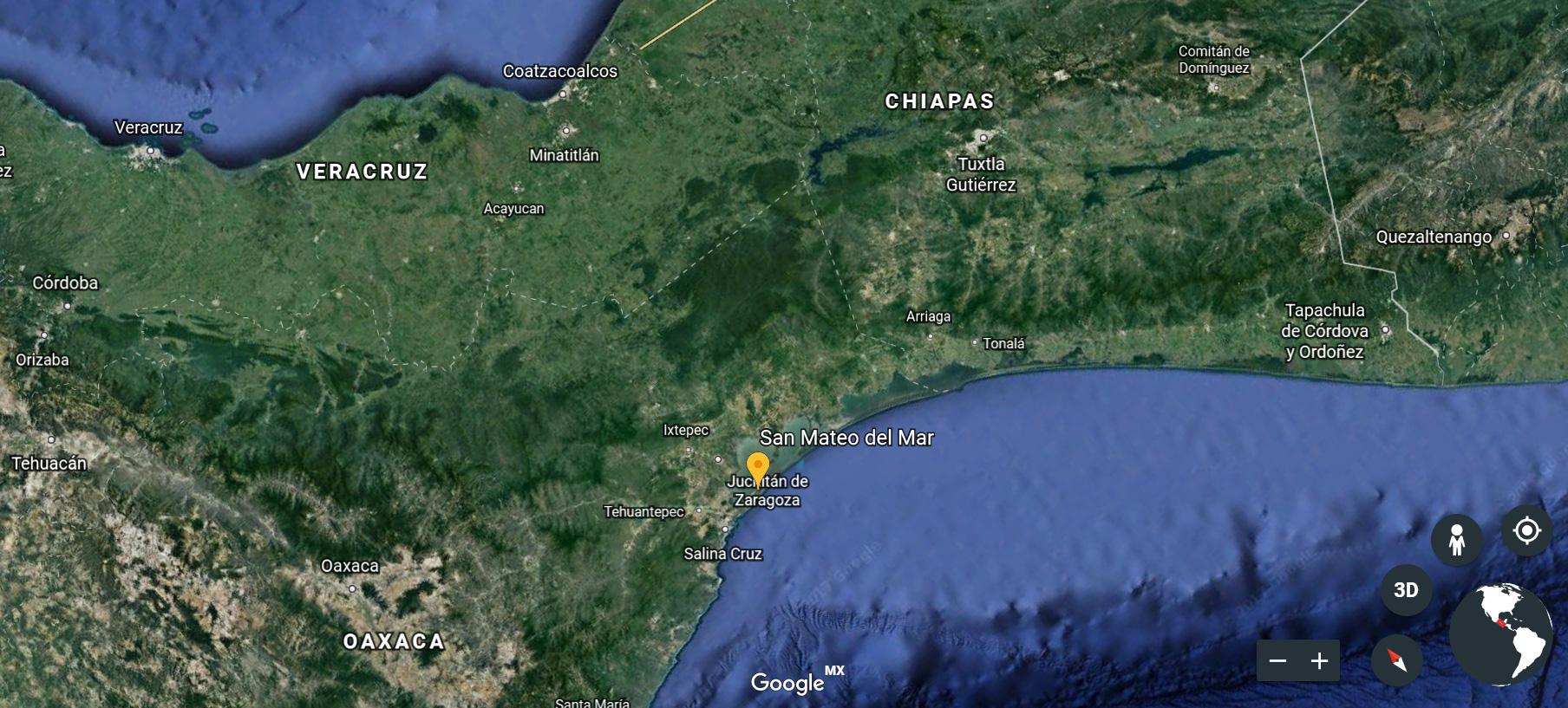 Google Earth of the Oaxaca Region