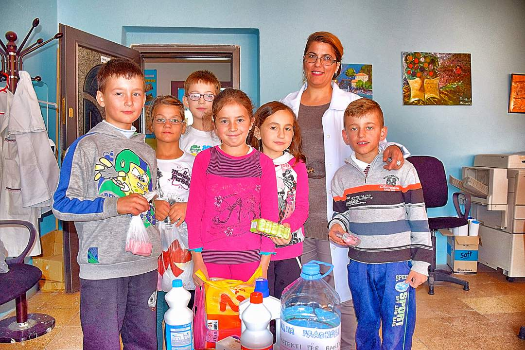 Cleaning supplies collected by students